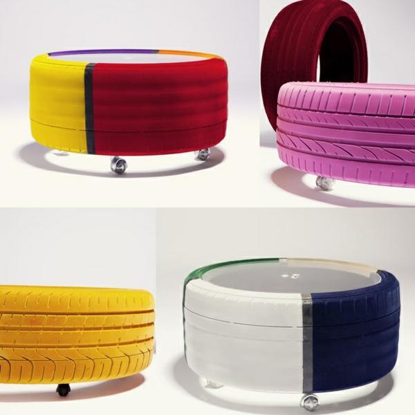 DIY Möbel aus Autoreifen autoreifen recycling gelb lila