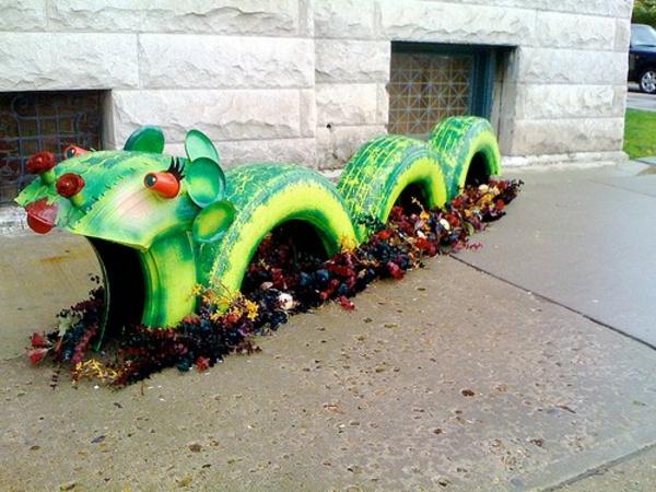 DIY Möbel Autoreifen autoreifen recycling grün tier kinder