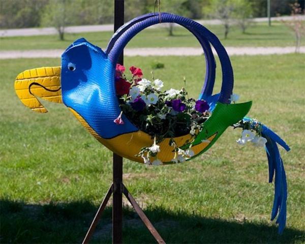 DIY Möbel Autoreifen autoreifen recycling korb vogel