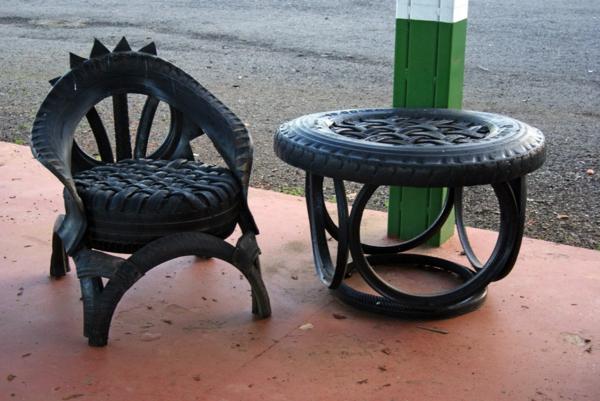Möbel aus autoreifen recycling sessel tisch