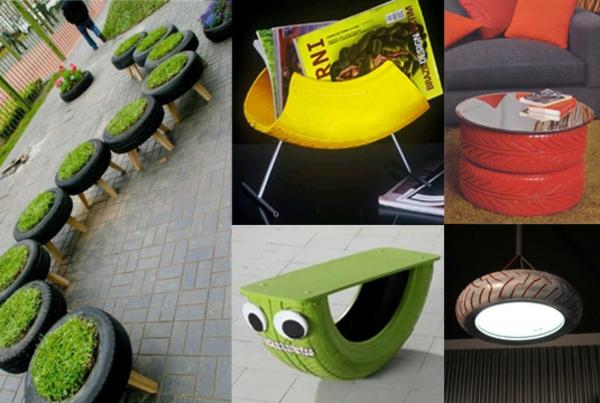 DIY Möbel Autoreifen autoreifen recycling tiere insekte grün