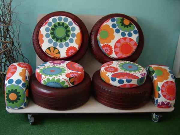 Möbel aus Autoreifen autoreifen recycling vorne bezug blumen