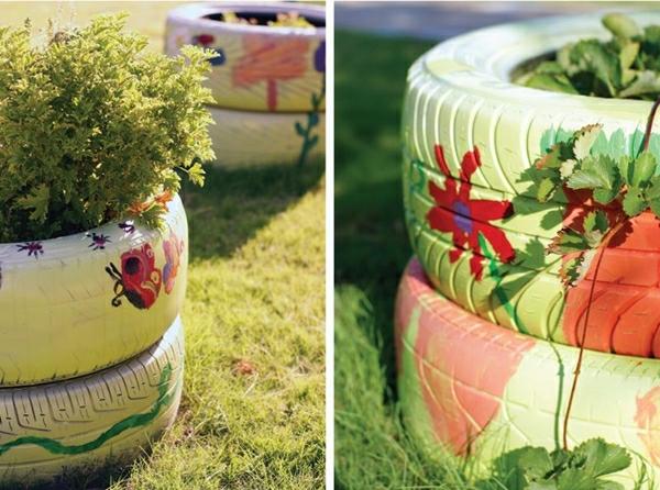 DIY Möbel aus Autoreifen bemalt muster pflanzen