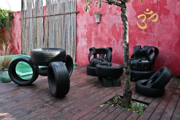 DIY Möbel aus Autoreifen garten hof