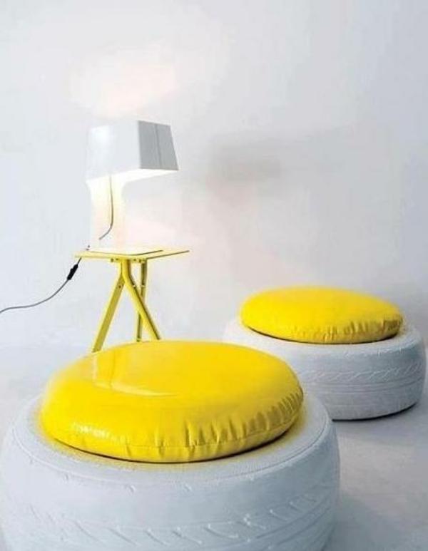 DIY Möbel ambiente Autoreifen gelb sitzplatz
