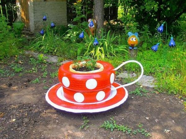 Möbel aus Autoreifen große teetasse rot