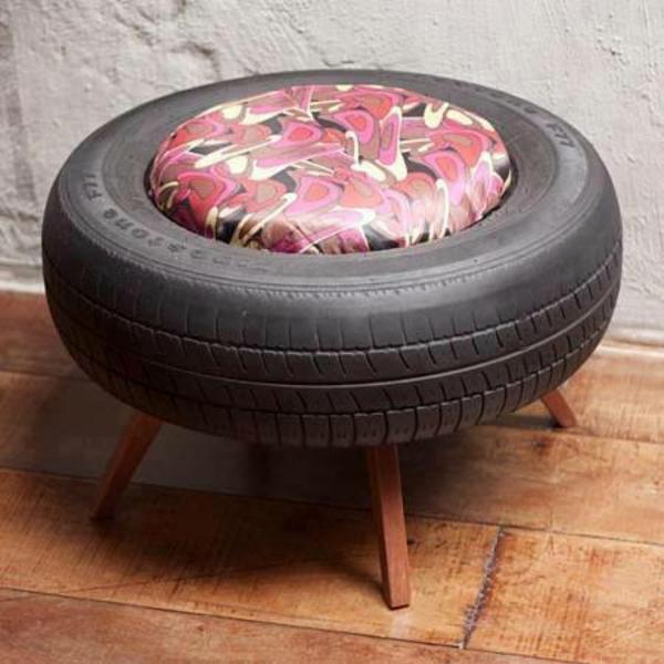 DIY Möbel aus Autoreifen hocker beine