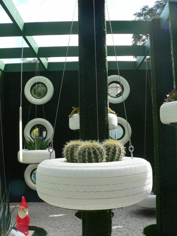 DIY Möbel Autoreifen kaktus hängend weiß