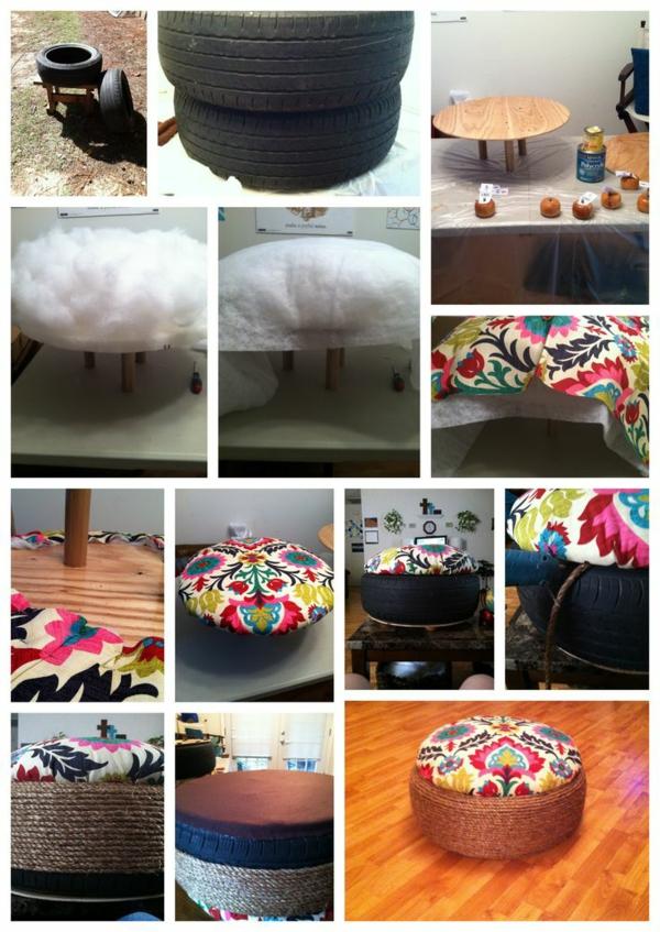 DIY Möbel aus Autoreifen kissen hocker