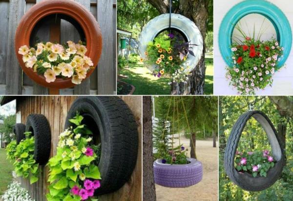 DIY Möbel aus Autoreifen pflanzen behälter lackiert