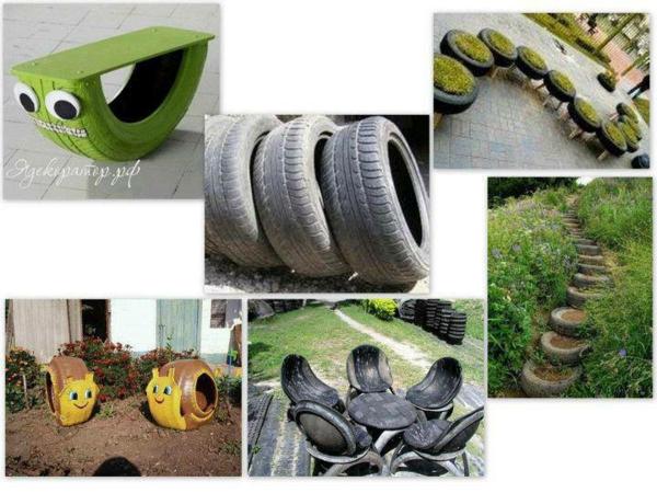 DIY Möbel aus Autoreifen recycling kunst gartenbank