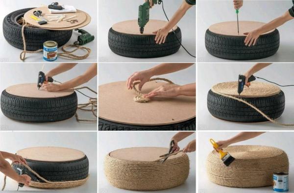 DIY Möbel aus Autoreifen seil hocker
