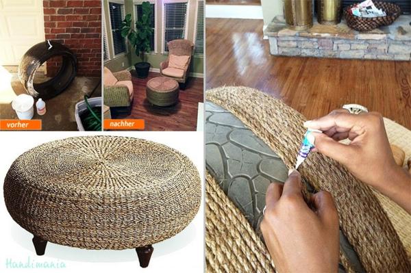 DIY Möbel aus Autoreifen seil umwickelt