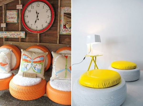 DIY Möbel aus Autoreifen weiß hocker