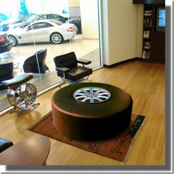 DIY Möbel aus Autoreifen wohnzimmer tisch