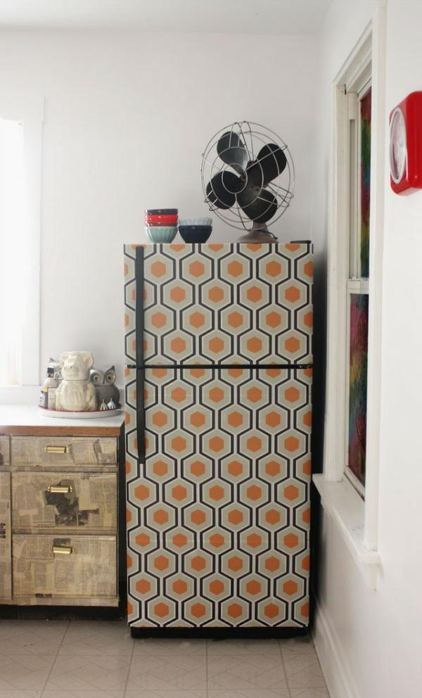 DIY wohnideen küche renovieren kühlschrank erneuern selbstklebefolie gemustert