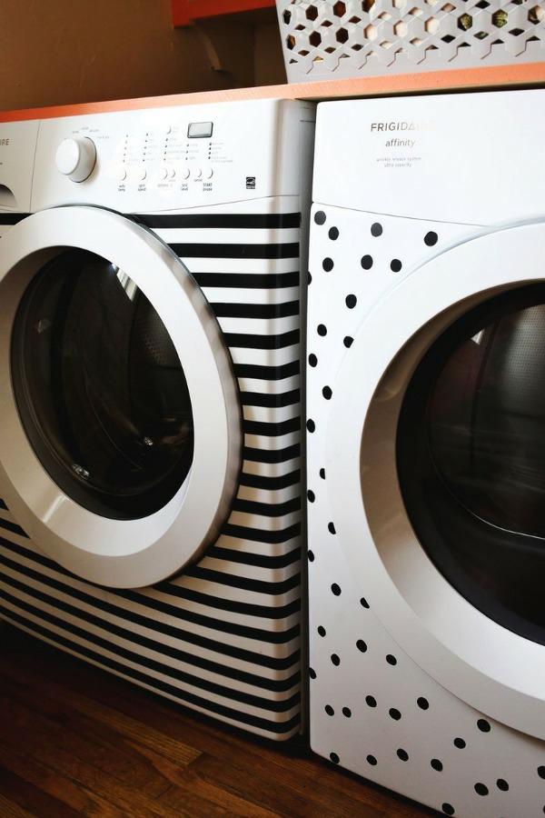 DIY wohnideen waschmaschine trockner erneuern aufkleber streifenmuster pünktchenmuster