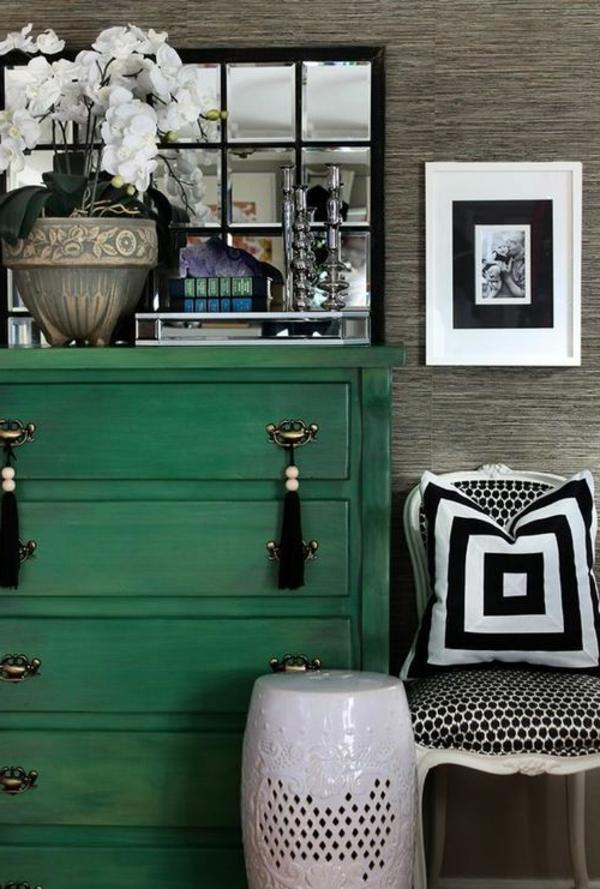 weiß blumen dekorativ Farbe Grün Farbbedeutung Grün kommode