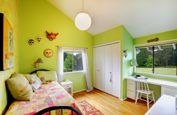 Einrichtungsideen-fürs-Jugendzimmer-grün-wandfarbe