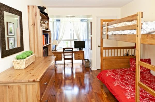 Einrichtungsideen fürs Jugendzimmer holz hochbett mit treppe