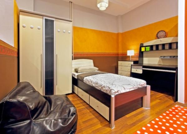 Einrichtungsideen fürs Jugendzimmer orange farbgestaltung kleiderschrank