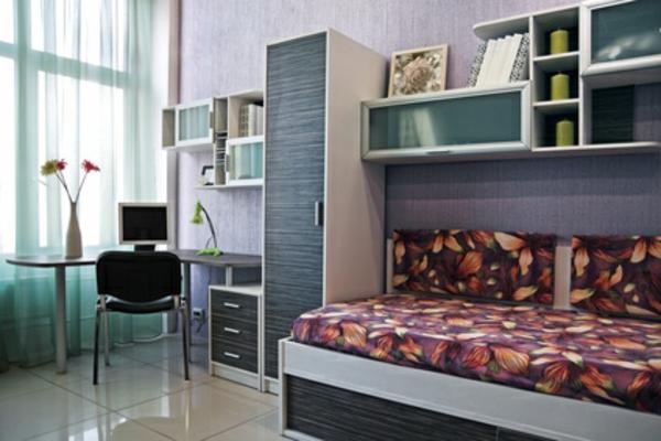 Einrichtungsideen fürs Jugendzimmer sitzecke runder tisch regale fenster