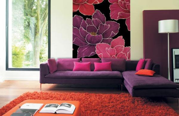 Farbideen für Wohnzimmer blumen muster