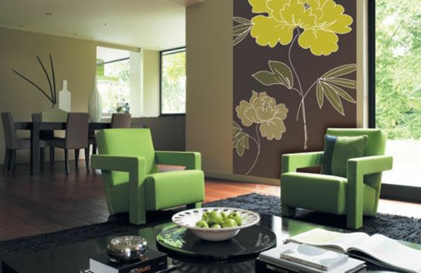 Farbideen Wohnzimmer grüne wandfarben