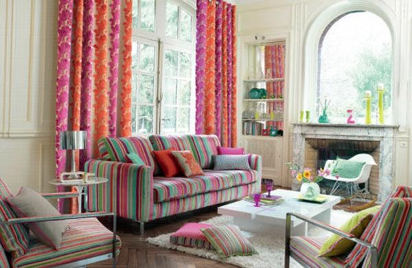 Farbideen Wohnzimmer orange gardinen