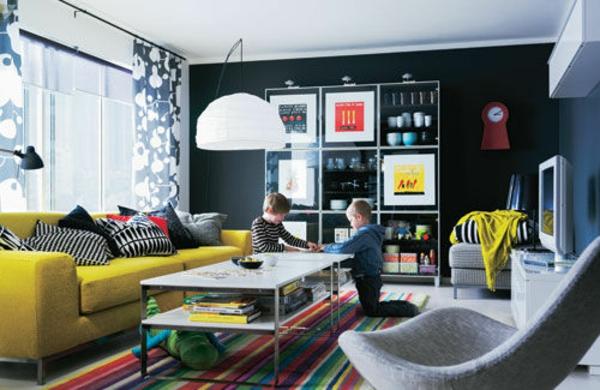 Farbideen Wohnzimmer schwarz weiß