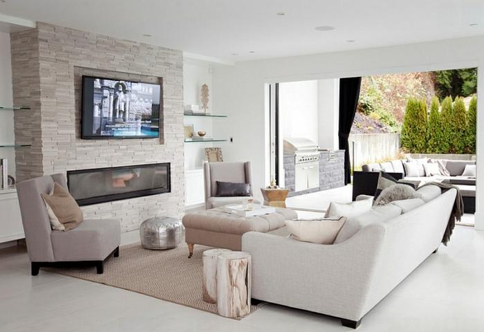 Wohnzimmer mit kamin und fernseher  Coole Wohnideen für einen Fernseher über dem Kamin