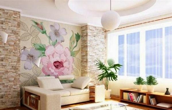 Günstige Wandverkleidung mit Kunststein wandpaneele steinoptik blumen