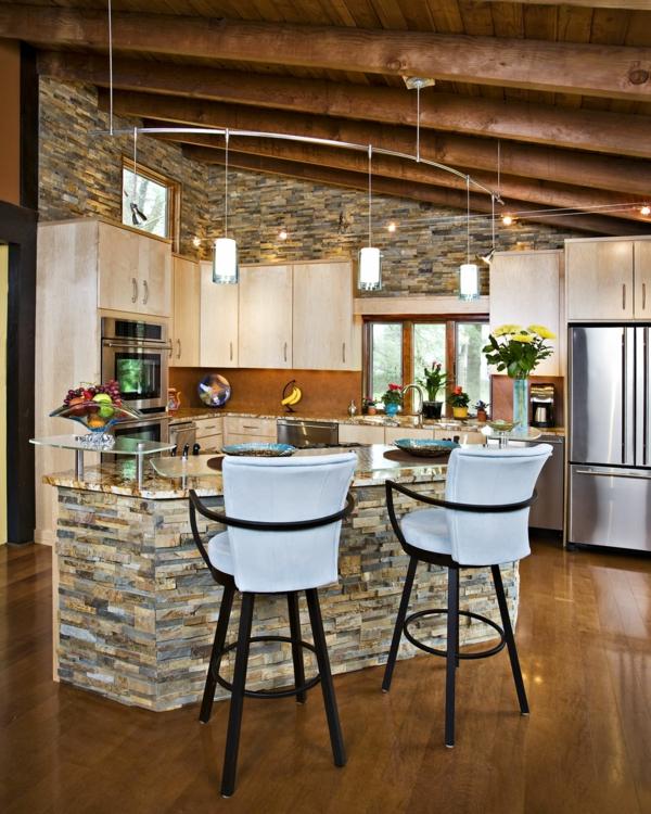 Wandverkleidung mit Kunststein wandpaneele steinoptik küche esszimmer