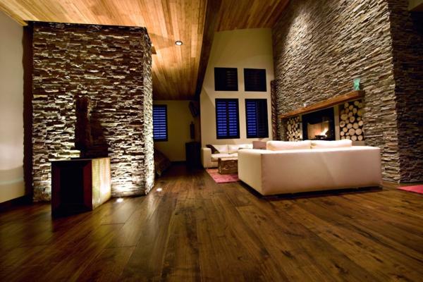Wandpaneele Holz Schlafzimmer ~ Günstige Wandverkleidung mit Kunststein und Dekoideen für Kamine