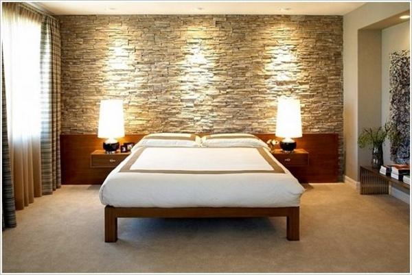 Wandverkleidung mit Kunststein schlafzimmer tischlampen