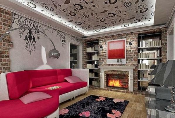 Günstige Wandverkleidung Kunststein wandpaneele steinoptik wohnzimmer rot