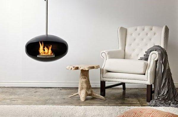 sthetisch sessel hngender kaminofen polsterung bodenbelag - Moderne Luxus Kamine