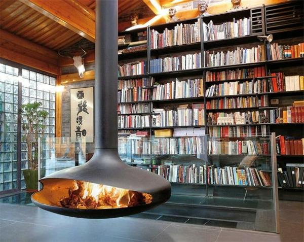 https://freshideen.com/wp-content/uploads/2014/06/H%C3%A4ngender-Kaminofen-b%C3%BCcher-regale.jpg - Moderne Luxus Kamine