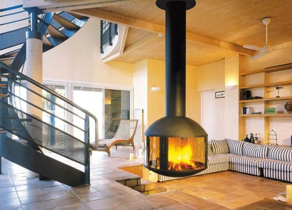 luxus wohnzimmer mit kamin hngender kaminofen moderne luxus kamine - Moderne Luxus Kamine