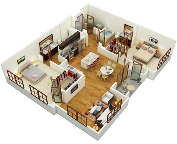Kostenlose zimmerplaner for Wohnung 3d planer