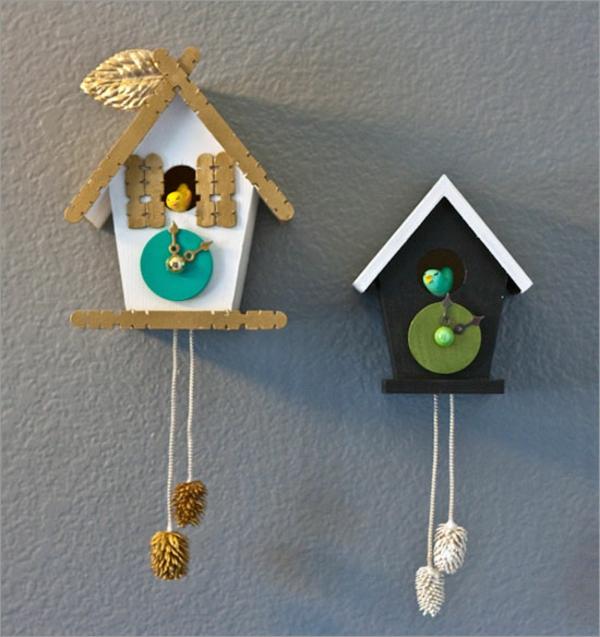 Kuckucksuhr selber bauen modern uhrwerk holz vogelhaus