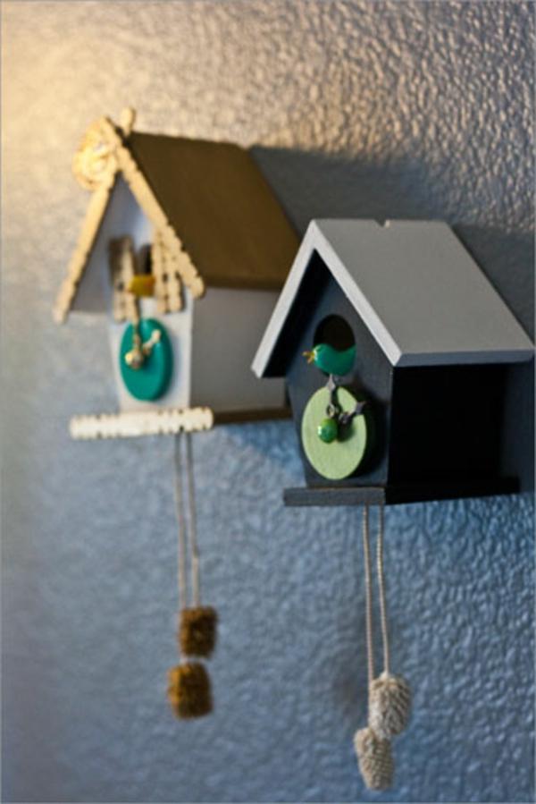 Kuckucksuhr selber bauen modern uhrwerk vogelhaus