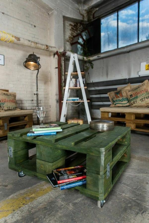 Möbel grün bemalt tisch Paletten gartenmöbel europaletten