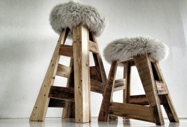 Möbel aus Paletten gartenmöbel europaletten hocker holz