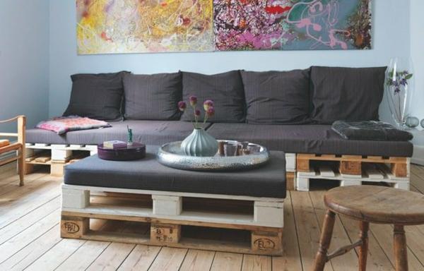 Möbel aus Paletten gartenmöbel europaletten kissen sofa