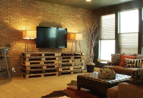 paletten ideen wohnzimmer:TV Living Room Ideas with Pallets