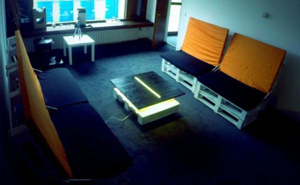 gartenmöbel europaletten wohnzimmer tisch