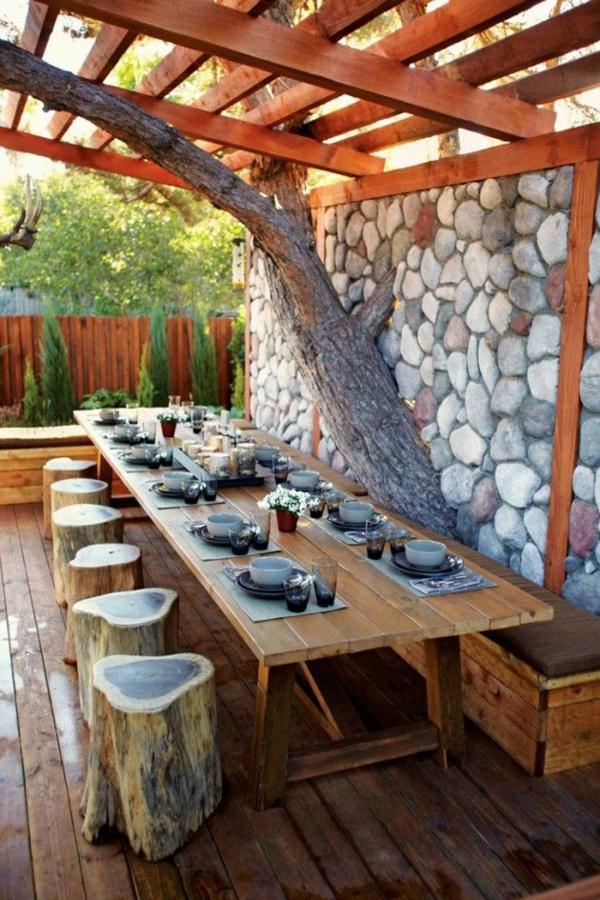 gartengestaltung sommer überdachung Outdoor Küchenmöbel