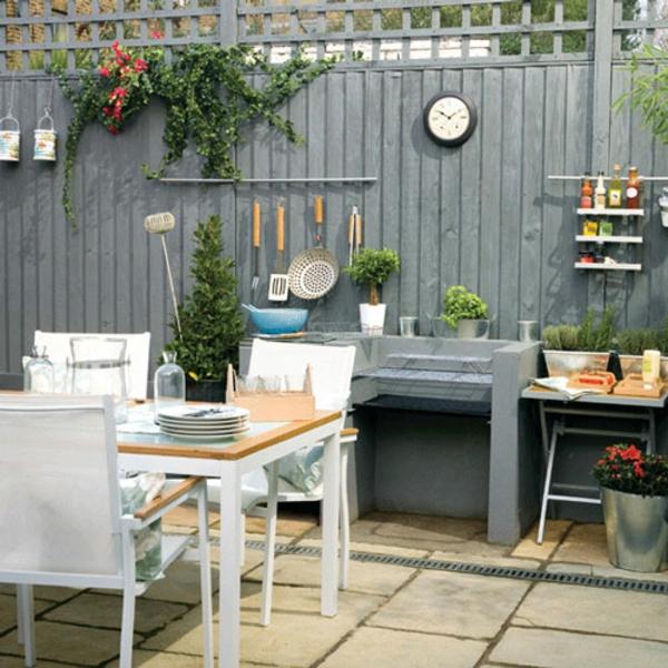 Küchenmöbel gartengestaltung sommer fliesen