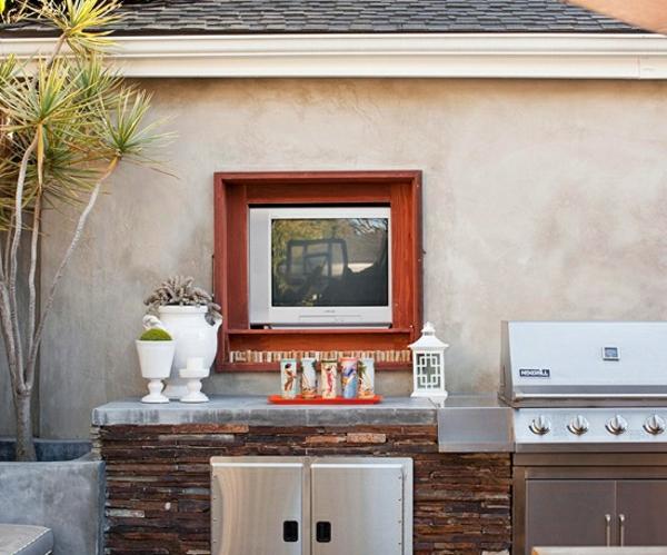 gartengestaltung Outdoor Küchenmöbel sommer spüle